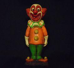 "Vintage Creepy Bozo Circus Carnival Clown Bank - Chalkware - Plaster 18.5"" Tall Creepy Circus, Creepy Clown, Ebay Shopping, Plaster, Carnival, 18th, Christmas Ornaments, Holiday Decor, Vintage"