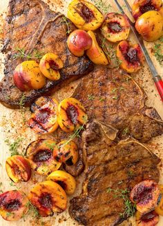 You might not immediately think of pairing peaches and thyme (or peaches and beef, for that matter), but one bite of this entirely grilled dinner idea will convince you that this is a remarkable partnership. #grilling #summerrecipes #summergrilling #grillingrecipes #bestgrilledrecipes #bhg