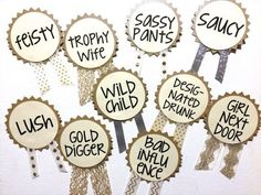 CUSTOM Bachelorette Party Pins, Name Tags, Bachelorette Sash, Bachelorette Party Decorations on Etsy, $3.00