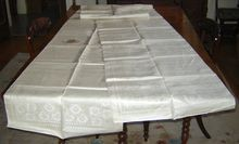 Uncut Strip of Eight Double Damask Dinner Napkins