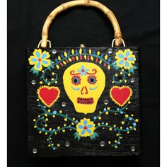 Cigar Box Purse Hand Painted With Sugar Skull Design OOAK ($35) via Polyvore featuring home, home decor, skull home accessories, black home decor and skull home decor