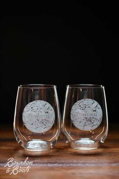 Chapel Hill College Town Engraved Stemless Wine Glass Set