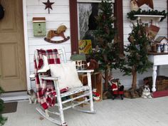 rustic christmas decorating ideas | Rustic Country Christmas on my front porch~~, Found all my decorations ...