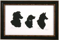 Silhouettes of three dogs in a Bradley's custom frame