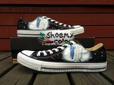 a7207bdefe1c New Attack on Titan Black Hand Painted Low-top Converse Canvas Sneaker for  Women Men