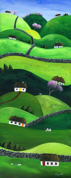 Hilly High Hills 12x30 Giclée Archival Print by BriannasArtwork. THE STORY  White homes tip top over the hills. With neighbours in sight but not too near, peace and quiet is appreciated here. Sheep baa and burl down the hills, chasing anyone who comes around stirring all about. The train choo choos over the very highest hill. Rock walls divide the land and move up and down from high points to low ground. Coloured doors capture the free spirit of their hearts and their love for life.