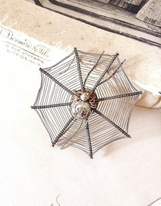 Vintage Silver Wire Spider Web Brooch - Goth Victorian Era Wired Spider Brooch or Pin - Steam Punk or Assemblage Jewellery Supplies