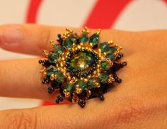 Handmade ring with swarovski crystals and 24kgp beads!!