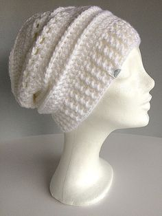 Slouchy hat White winter hat Winter slouch beanie White by gremArt