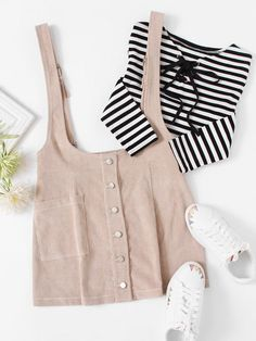 Skirts by BORNTOWEAR. Single Pocket Buttoned Cord Pinafore Skirt