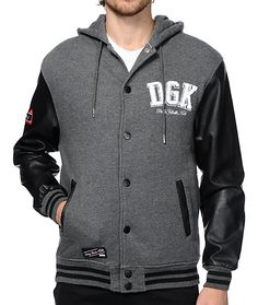 Get a fresh street style with a white DGK fleece logo embroidered on the left chest of a charcoal knit body accented by black Polyurethane sleeves.