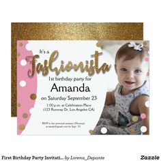 First Birthday Party Invitation, Fashionista, pink Card - The gold glitter is only printed — which saves you on cost but it's still so chic don't you agree?! Customize this invitation with your photo and event information. So many possibilities with this theme, follow our Pinterest account for ideas. Find the rest of the party extras from this collection.