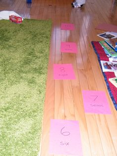 Number steps. Tape numbered construction paper to the floor and help toddler step from one to the other while counting and recognizing numbers. The Stay-at-Home-Mom Survival Guide: Toddler Activities