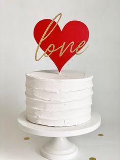 Heart Cake Topper, Sweetheart Cake topper, Valentine's Day Love Cake Topper, Wedding Cake Topper Valentines Cakes And Cupcakes, Valentine Cake, Cupcake Cakes, Sweet Cakes, Cute Cakes, Love Cake Topper, Heart Shaped Cakes, Cake Decorating Techniques, Celebration Cakes
