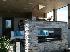 Contemporary | Outdoors | Adam Miller : Designer Portfolio : HGTV - Home & Garden Television... 2 sided fireplace!