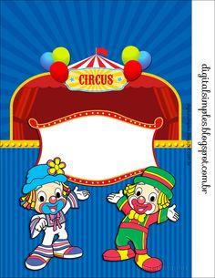 -kit personalizado infantil- Convites Digitais Simples Circus Theme Party, Party Themes, 2nd Birthday Parties, Clip Art, Clowns, Creative, Party Crafts, Ideas Para, Safari