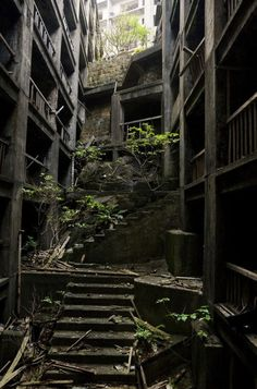 Hashima Island, Japan. Full of factories and workers, this island was abandoned when the shift from coal to petroleum occurred.
