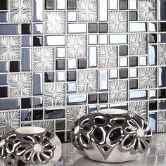 Black and Blue Glass Tile Backsplash Silver Clear Crystal