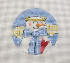 Marsye Wray  Snowman Angel w/Heart Ornament Handpainted Needlepoint Canvas #Unbranded