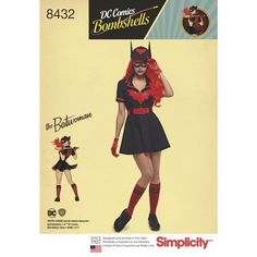 """Knock it out the park with this DC Comics Bombshell Batwoman Costume. Misses' dress features a Batgirl logo on the front and """"Gotham Knights 52"""" on the back. DC Comics for Simplicity Cosplay sewing patterns."""