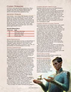 Blazing Dawn Player's Companion - The Artistry Domain. Bring your art to life and fight with creativity! Dnd Characters, Fantasy Characters, Cleric Domains, Dnd Cleric, Dnd Classes, Dungeon Master's Guide, Dnd 5e Homebrew, Dnd Monsters, Dungeons And Dragons Homebrew