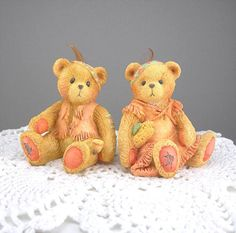 Cherished Teddies Figures Native American Pair Vintage 1993 Thanksgiving Bear Resin Collectibles Set of 2 Home Holiday Decor