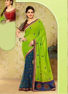 BEST SELLERS!!  Zarine Khan Green Georgette Party Wear Saree  Product Order Link http://www.maplefashions.com/sarees/zarine-khan-green-georgette-party-wear-saree_11479#.VO1aMnyUdIE  Call or Whatsapp : +919377152141 SHOP NOW!!