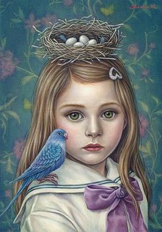 Not sure why there is a nest on her head, but the little girl is beautiful  Painting by Shiori Matsumoto
