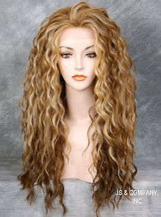 Two Tone Blondes Tangerine Mix Heat Safe Lace Front Wig Curly Wavy NBH 2216 | eBay