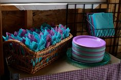 nice color scheme: teal and orchid purple