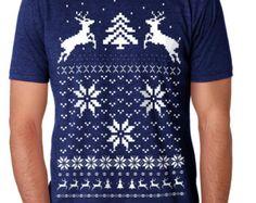 Ugly Christmas Sweater t shirt -- unisex mens Snow Deer -- S M L XL skip n whistle