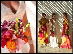 Beach wedding style - love those bridesmaids dresses