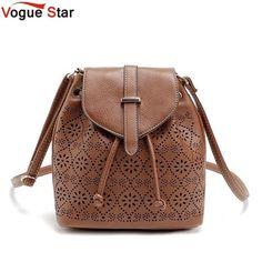 4bf05d8372f0 Vogue Star Vintage Women Bucket Bag Leather Messenger Bags Handbags Women  Hollow Out Designer Female Shoulder