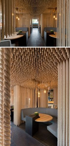15 Creative Ideas For Room Dividers // Suspended ropes give diners at this restaurant a sense of privacy while they eat.