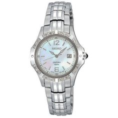 Seiko Women's SXDE19 Quartz Stainless Steel Mother-Of-Pearl Dial Watch