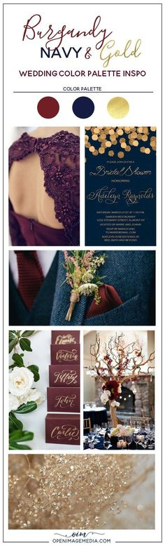 Burgundy Navy and Gold Wedding Color Palette