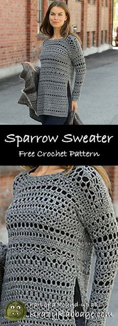Free Crochet Sweater Patterns – Krazy Kabbage - Crochet in every way . Pull Crochet, Bag Crochet, Black Crochet Dress, Crochet Woman, Crochet Blouse, Crochet Dresses, Crochet Shawl, Diy Crochet Clothes, Crochet Shrugs
