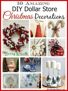 Create beautiful Christmas decor on a budget with these DIY Dollar Store Holiday decorations & crafts. |10 DIY Dollar Store Holiday Decorations