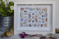 """Abstract in pink"""" collage in different shades and sizes of pink and soft purple Irish sea glass and pottery Soft Purple, Pink, Southern Ireland, Deep Box Frames, Artwork For Home, Irish Sea, Take You Home, Frame Sizes, Sea Glass"""