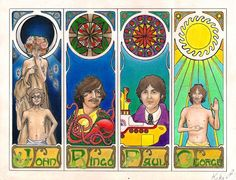 The Beatles Psychedelic Wallpaper | the_beatles_done_by_kikidemontparnasse-d3c7tnw.jpg