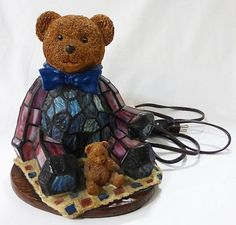 Stained glass teddy bear table lamp tiffany style kids room decor collectible