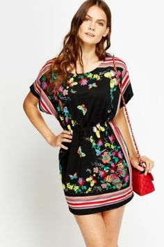 Printed Mini Tunic Dress - Black or White - Just £5