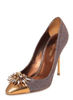 Sergio Rossi Glam Glitter Nappa Leather Pumps - Metallic leather pointed toe Glittered effect Swarovski crystals and spike detail Metallic leather lining and insole Leather sole Metallic Shoes, Glitter Shoes, Metallic Leather, High Heel Pumps, Pumps Heels, Golden Shoes, Sergio Rossi Shoes, Glam And Glitter, Shoes