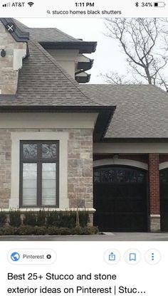 Stucco trim. Black windows and doors.