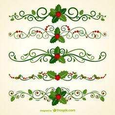 Christmas ornamental headers