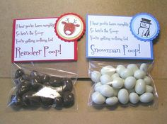 snowman poop and reindeer poop stocking stuffers yogurt covered peanuts and raisinettes