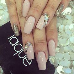 nude gold diamond bling Nail design