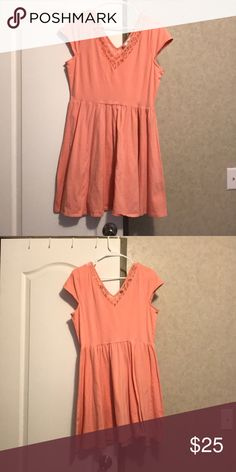 Lauren Conrad dress Casual, peach LC dress. Has lace detail in the V neck. Hits a couple inches above the knee. LC Lauren Conrad Dresses