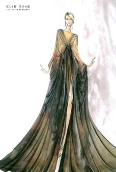 Elie Saab (designer) #fashion #illustration This beautiful gown shows different shades of green/yellow (?), which stands out against the white background. The emphasis is on the sleeves (?), which a deep emerald color; it is very eye-catching. I love this brand, because all of Saab's dresses are great pieces of artwork. For this year, I want to try doing some fashion illustrations myself.