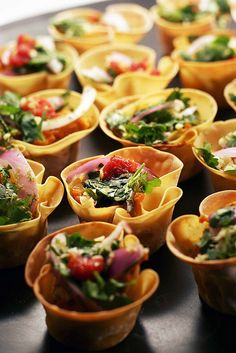 No recipe - just the pic for inspiration. Great appetizer idea, place some won ton wrappers in a small cake tin, brush over with butter or oil and bake til golden. Fill with various ingredients.